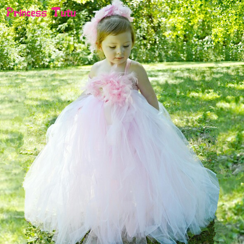 Feathers Flower Girl Tutu Dresses Light Pink White Tulle Baby Girl Wedding Party Dress 1-14Y Kids Girls Princess Ball Gown Dress 2018 new summer girl children s ball gown princess dress costumes feathers wedding dresses girls kids lace tutu dresses d048