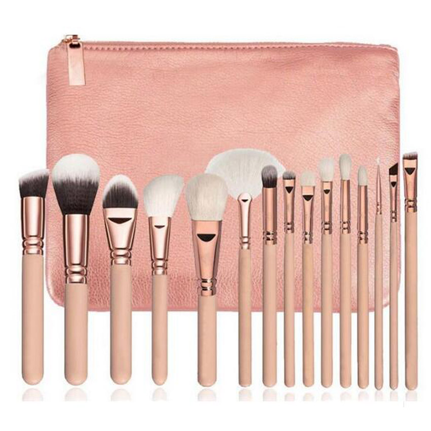 Brand makeup 8 12 15 pieces Black Premium hair Big Powder Foundation blusher eye shadow Contour Makeup brush set Cosmetic Pouch newly design fashion blusher cosmetic makeup brush sep11