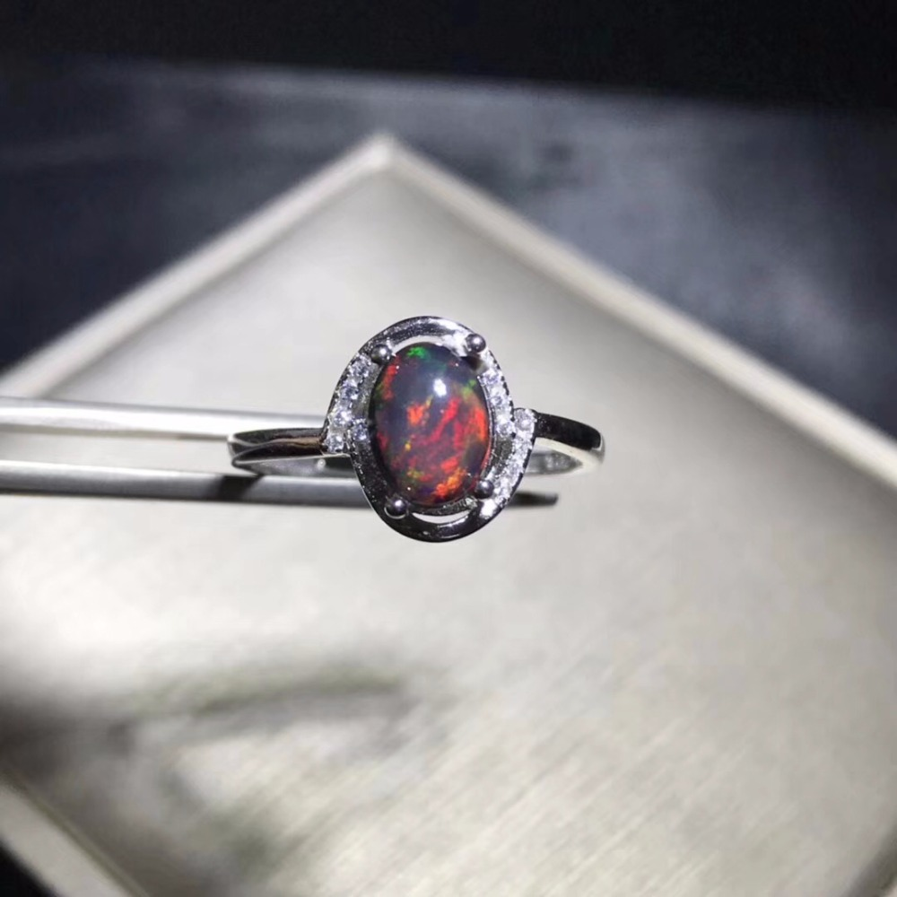 Natural Opal Woman Rings Change Fire Color Mysterious  925 Silver Adjustable Size