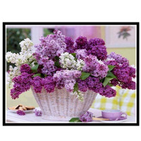 Golden Panno,Needlework,Embroidery,DIY Floral Painting,Cross stitch,kits,14ct Lilac Basket Cross stitch,Sets For Embroidery