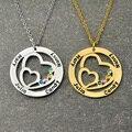 Персонализированные Имя Ожерелье с Камень, Круглый Пользовательские Семья Ожерелье Двойного Сердца в Cricle, Подарок для Женщин