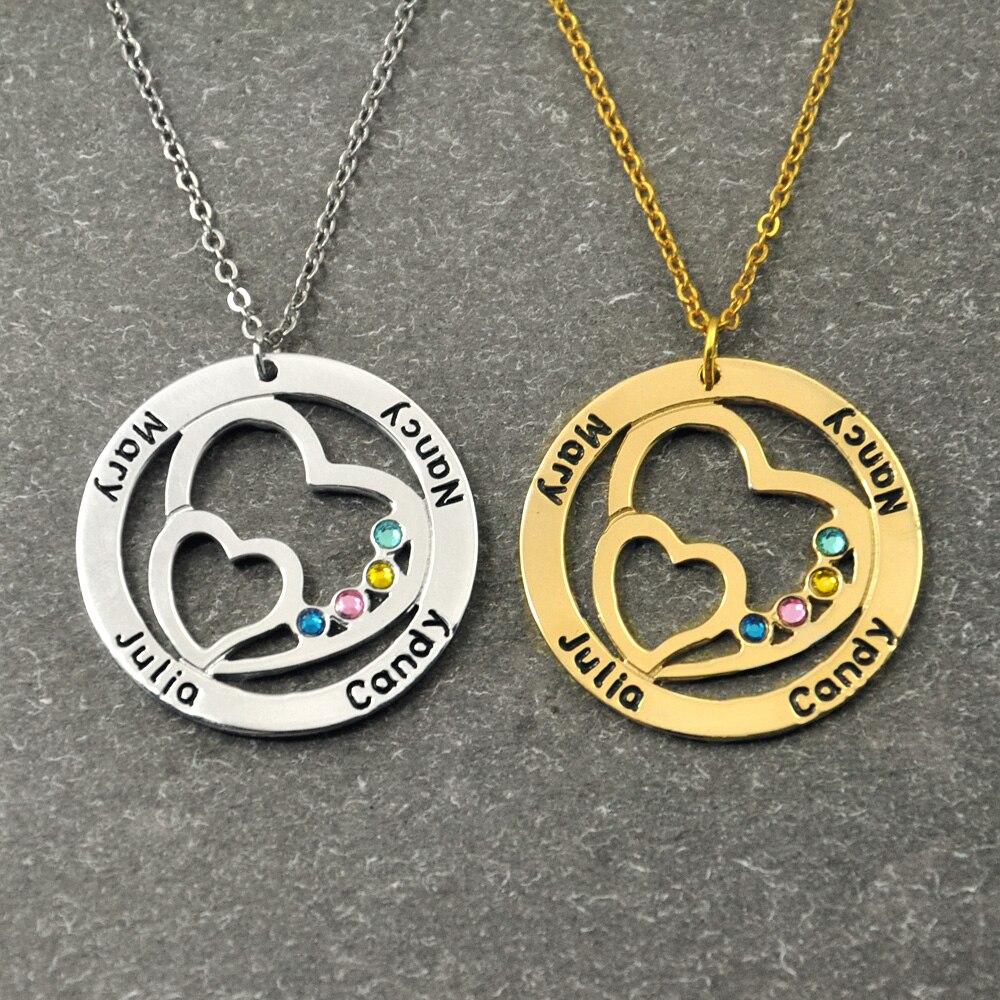 Nombre personalizado collar con piedra redonda personalizada familia collar doble corazón en el Cricle regalo para las mujeres