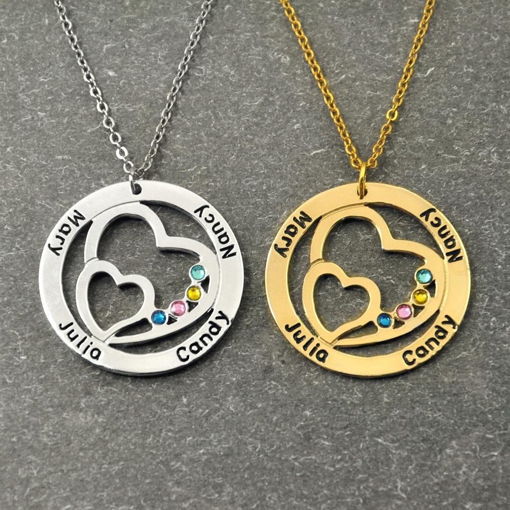 Personalisierte Name Halskette mit Birthstone, Runde Benutzerdefinierte Familie Halskette Doppel-herz in die Cricle, Geschenk für Frauen