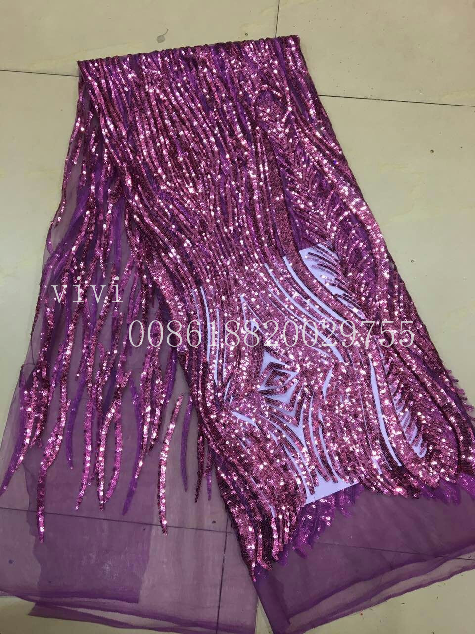 bin011 # purple luxury sequin net mesh tulle embroidery lace fabric for party/evening dress/sawing