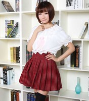 Classic Mori Girl Red And Black Plaid Mini Skirt