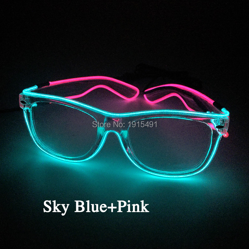 Top Selling Stylish EL Rope Tube Easter Colorful Glasses Music Active Disco Bar Night Party Neon Led Bulbs Glittery Eyeglasses