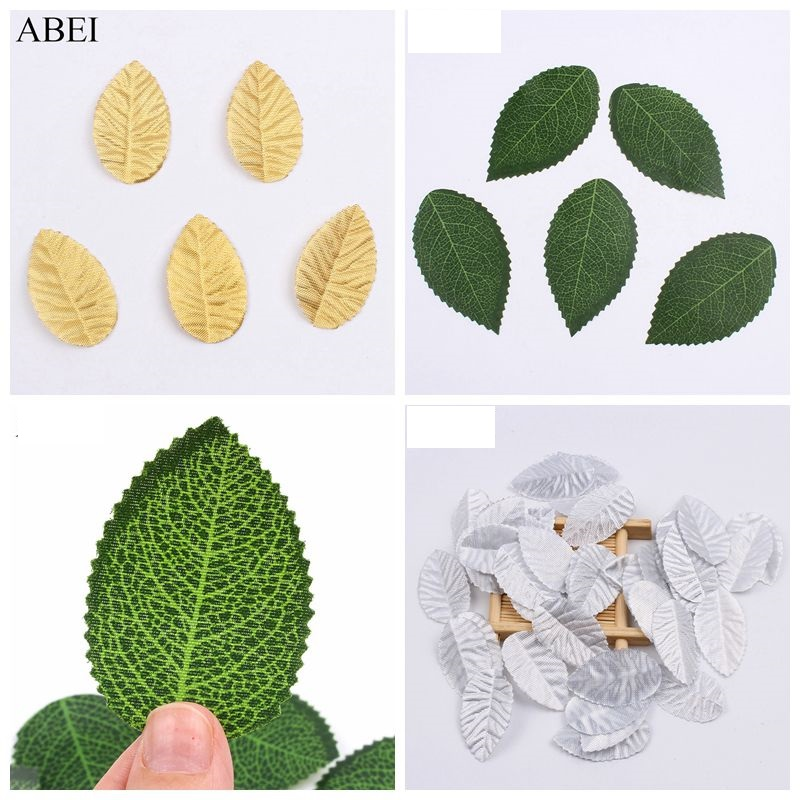 50pcs/lot Gold/Silver/Green Leaf Artificial Silk Flower Leaves For Scrapbook Wedding Party Decoration Fake Leaves DIY Wreath