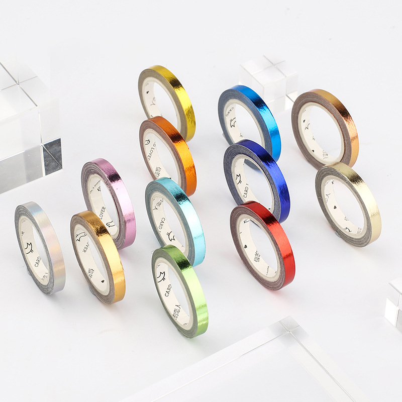 5mm Colorful Slim Gold Foil Making Washi Tape Creative Diy Journal Decorative Adhesive Tape Sticker Scrapbooking Cute Stationery