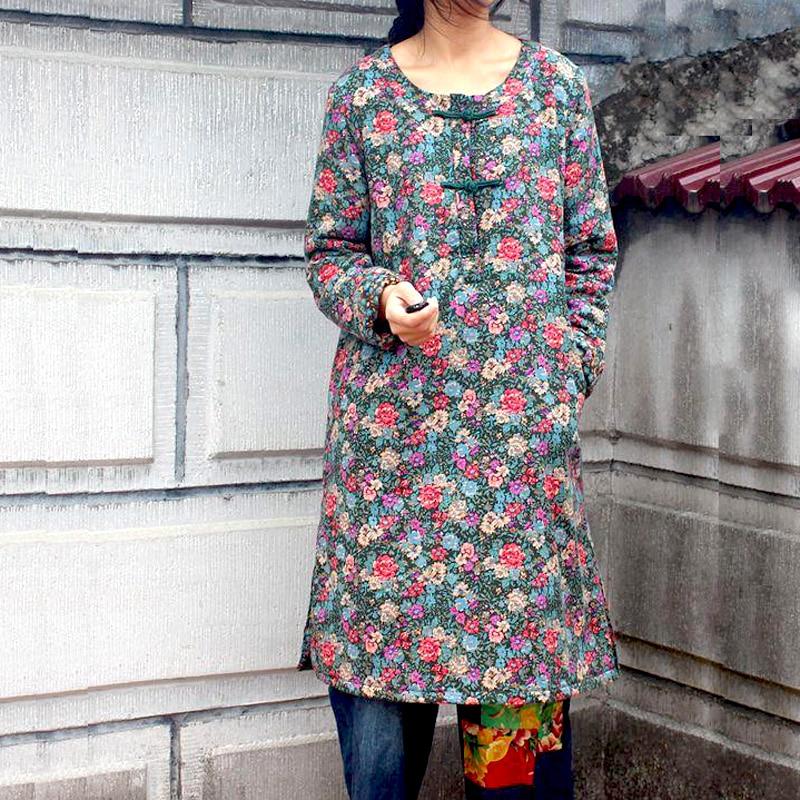 Folk style dress winter soft cotton retro floral long coat windbreak wind coat