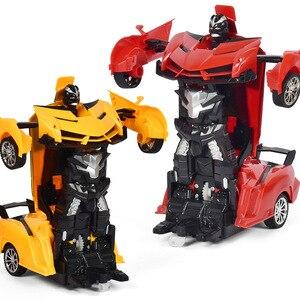 Image 3 - Voiture robot RC 2 en 1, télécommande, robot à déformation RC sans fil, modèles RC, conduite, Transformation sportive, jouet pour enfants, cadeau