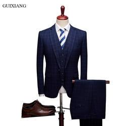 2018 Новое поступление осень Стиль Для мужчин высокого класса Бутик костюмы платье Бизнес Повседневное Для мужчин сетка тонкий пиджаки