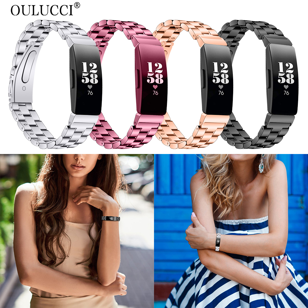 Oulucci  New Fashion Stainless Steel Fitbit Inspire Replacement Watch Band Wrist Strap For Fitbit Inspire HR