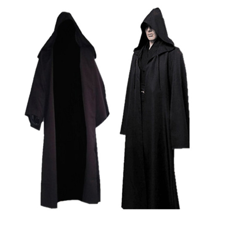 New Darth Vader Terry Jedi Black Robe Jedi Knight Hoodie Cloak Halloween Cosplay Costume Cape For Adult