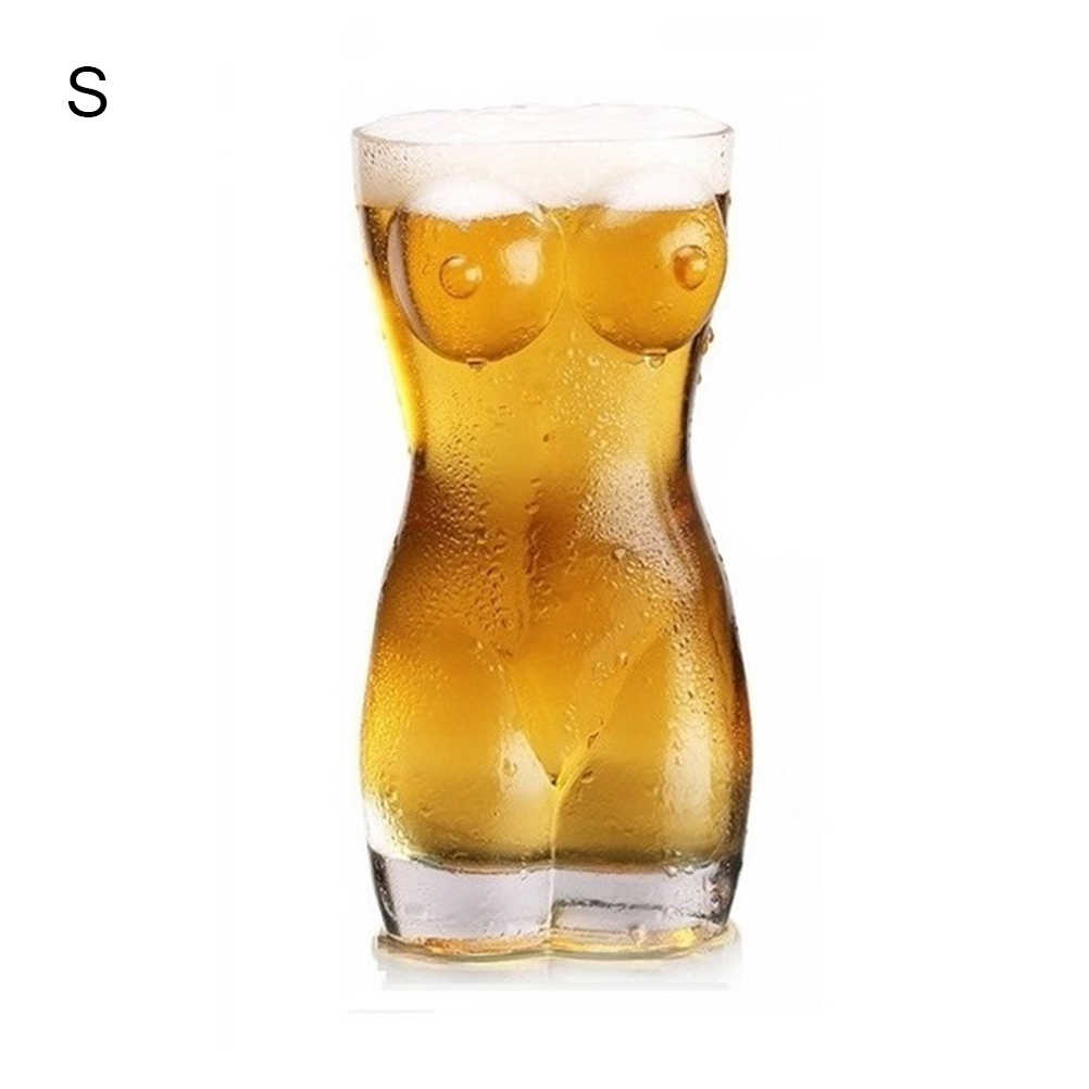 Sexy Lady Men Durable Double Wall Whiskey Glasses Wine Shot Glass Big Chest Beer Cup Creative Body Shape Glass Cup
