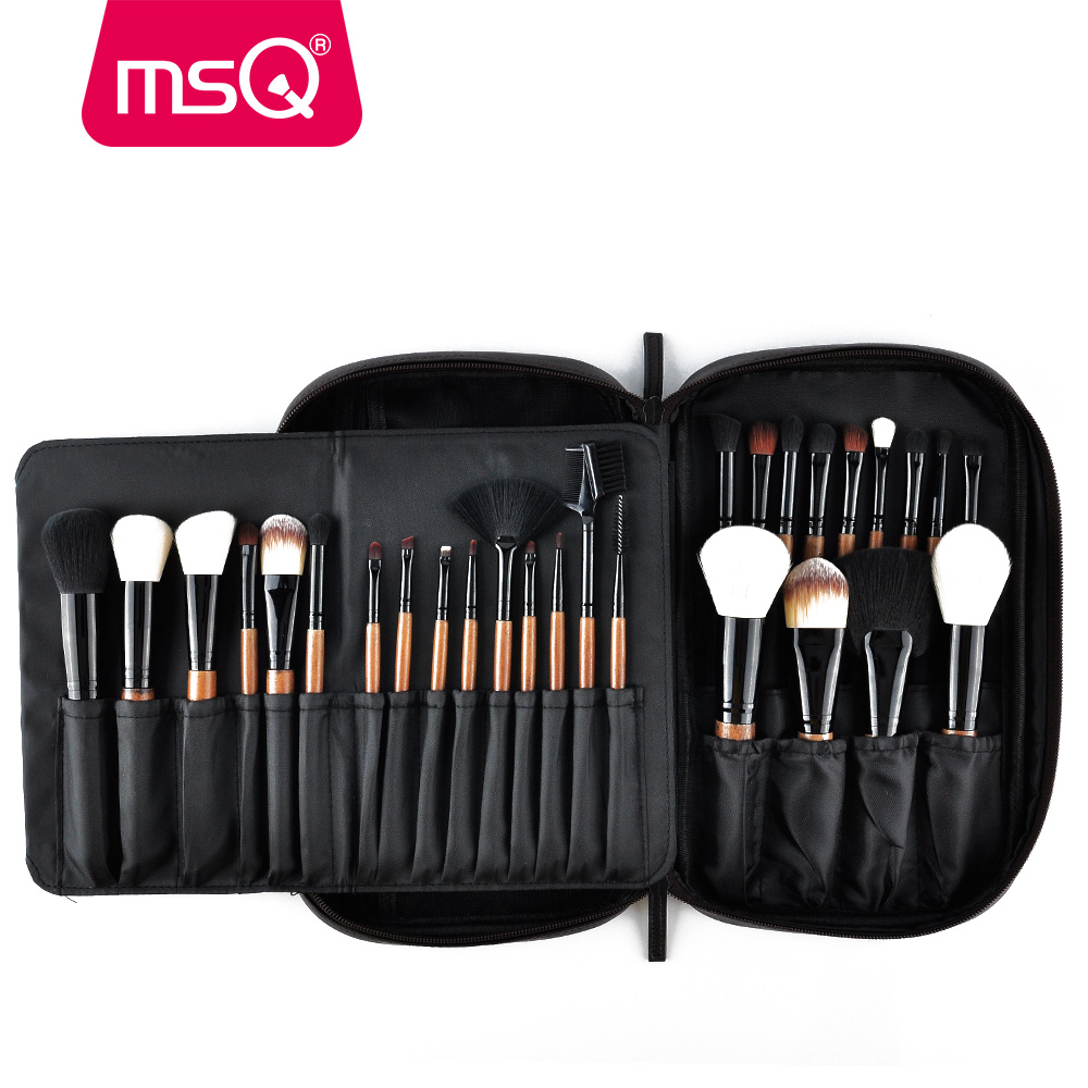 MSQ 28pcs Make-upborstels Set Pro Powder Blusher Foundation Oogschaduw Make-Up Borstels Cosmetica Brush Kit Met PU-lederen etui