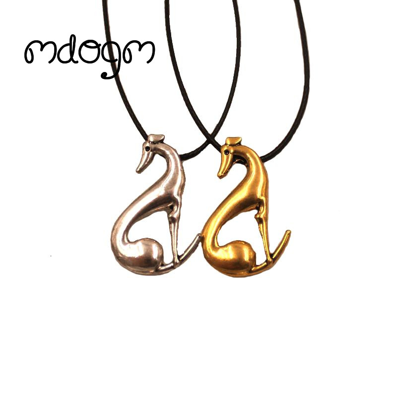 Mdogm 2018 Greyhound Necklace Dog Animal Pendant Antique Gold Silver Plated Fashion Jewelry For Women Male Female Girls N140