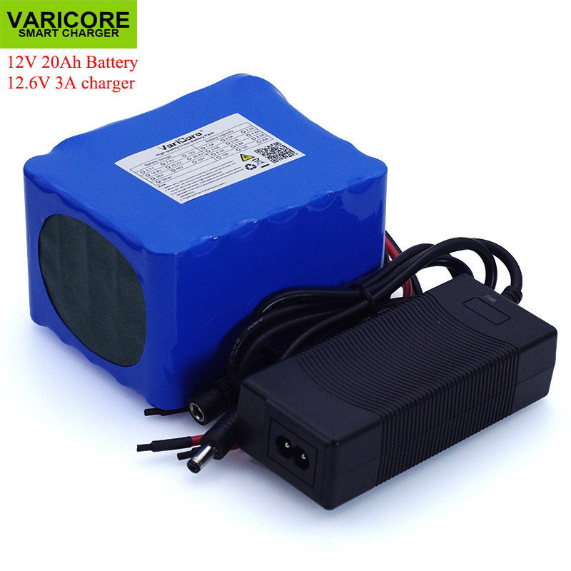 VariCore 12V 20Ah High Power 100A Discharge Battery Pack BMS Protection 4 Line Output 500W 800W 18650 Battery+ 12.6V 3A Charger