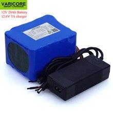 Varicore 12v 20ah alta potência 100a descarga bateria bms proteção 4 linha saída 500w 800w 18650 bateria + 12.6v 3a carregador
