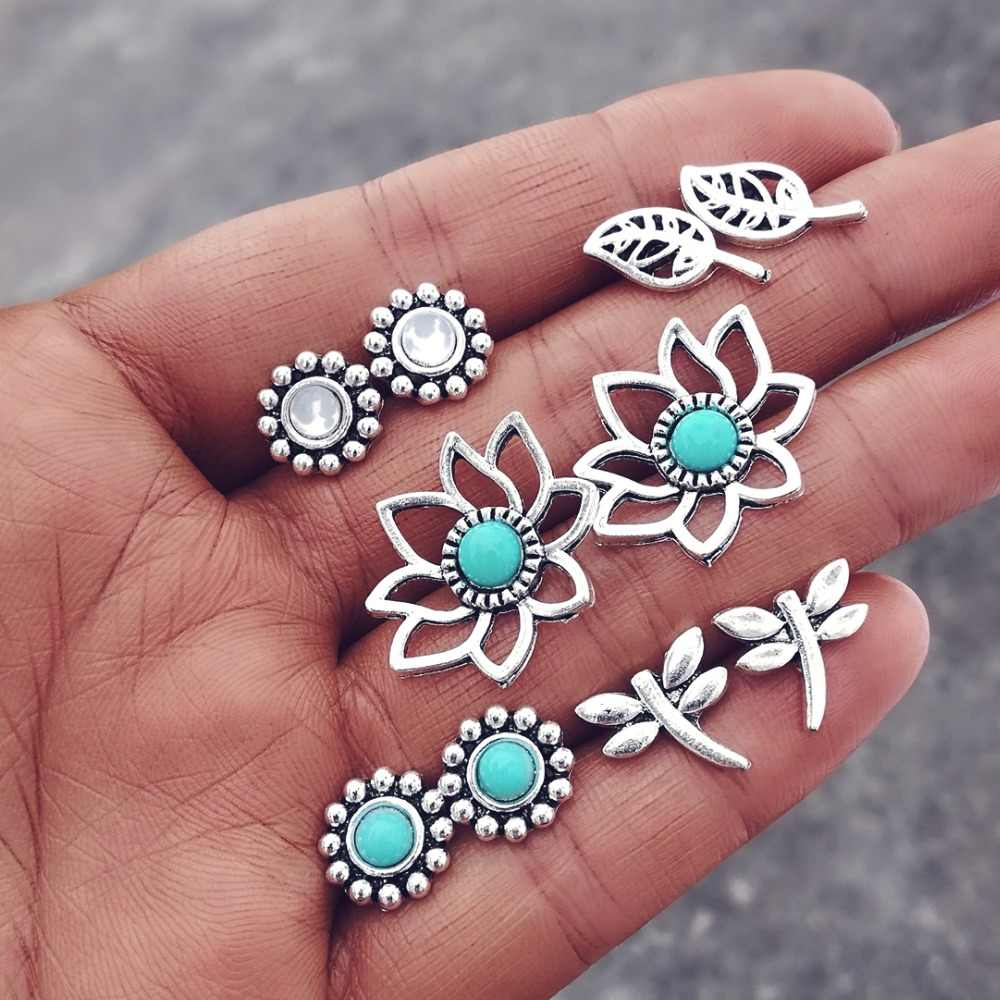Boho Ocean Beach Sea Earrings Set Vintage Rudder Starfish Dolphin Tail Turtle Shell Stud Earrings for Women Brincos