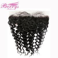 Berrys אופנה ברזילאית תחרה פרונטאלית 13x4 עמוק גל 100% אדם לא מעובד בתולה שיער חלק בחינם קשרים מולבנים עם תינוק שיער