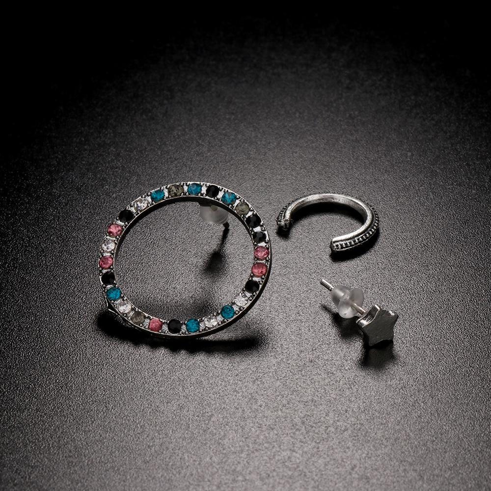 3PCs Punk Star Pentagram Hollow Colorful Rhinestone Clip Earring Circle Clip Earring Set Fashion Round Earrings Bohemian Jewelry