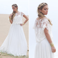 Simple Chiffon Boho Wedding Dress Lace White Casual Beach Wedding Dresses With Jacket Sleeves Women Bohemian
