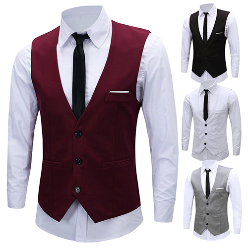 Men's Formal Business Slim Fit V-neck Solid Single-Breasted Vest Suit Waistcoat New Arrival Hot Sale