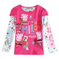 Muchachas de la Marca de moda camisetas de los niños ropa de dibujos animados de moda bordado de manga larga camisetas para niñas otoño tapas del cabrito enfant