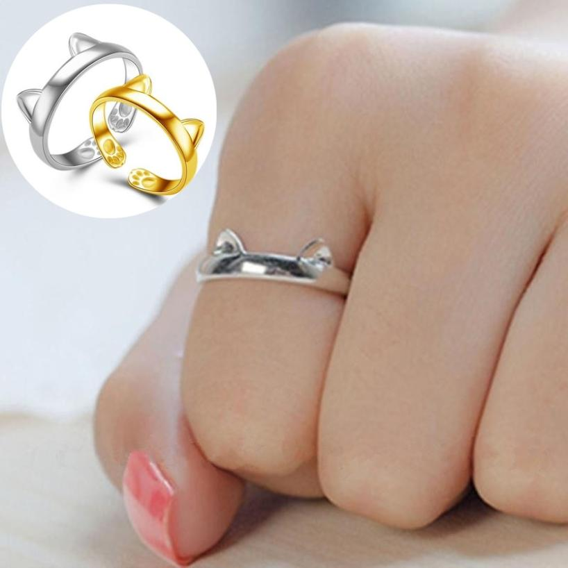 Fast sending Fashion Gold & Silver Plated CAT EARS RING Thumb Ring Adjustable size Pet Gift wholesale drop shipping #0604
