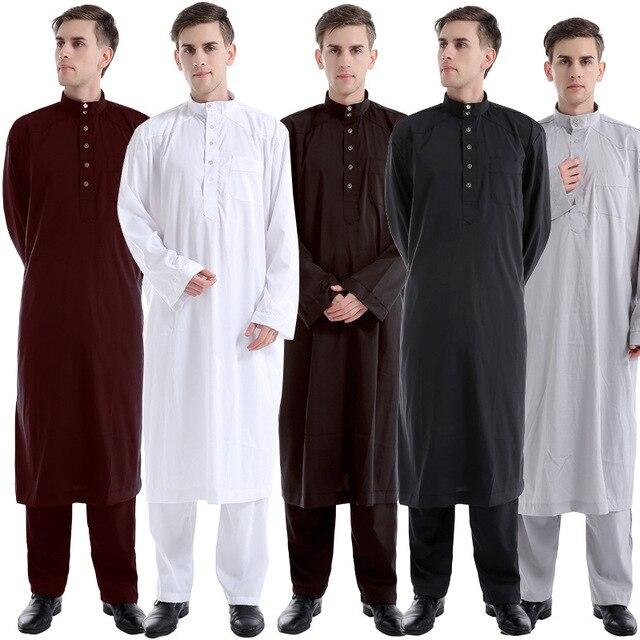 best sneakers f8a0d b27aa US $24.98 5% OFF|2018 neue Muslimische Männer Langarm Thobe Islamische  Kleidung Saudi Arabischen Moslim Jurk Kleidung Herren Kaftan Thobe Plus  Größe # ...