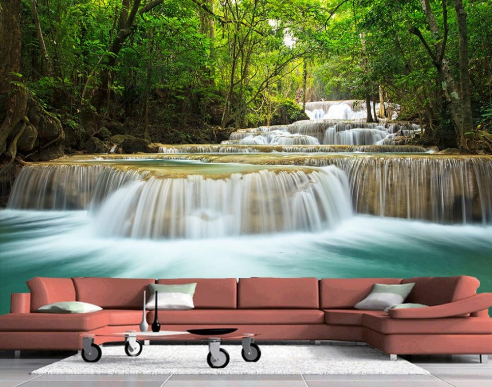 custom 3d photo wall paper forest waterfall landscape 3d wallpaper tv background wallpaper the living room sofa backdrop mural in wallpapers from home