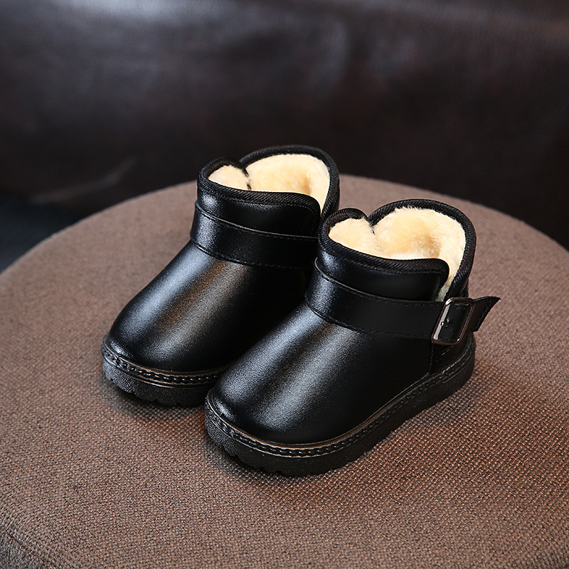 Kids Snow Boots Winter Leather Baby Girls Toddler Shoes Child Warm Plush Thicker Sole Dress Shoes Black Sneakers Boys Best Shoes