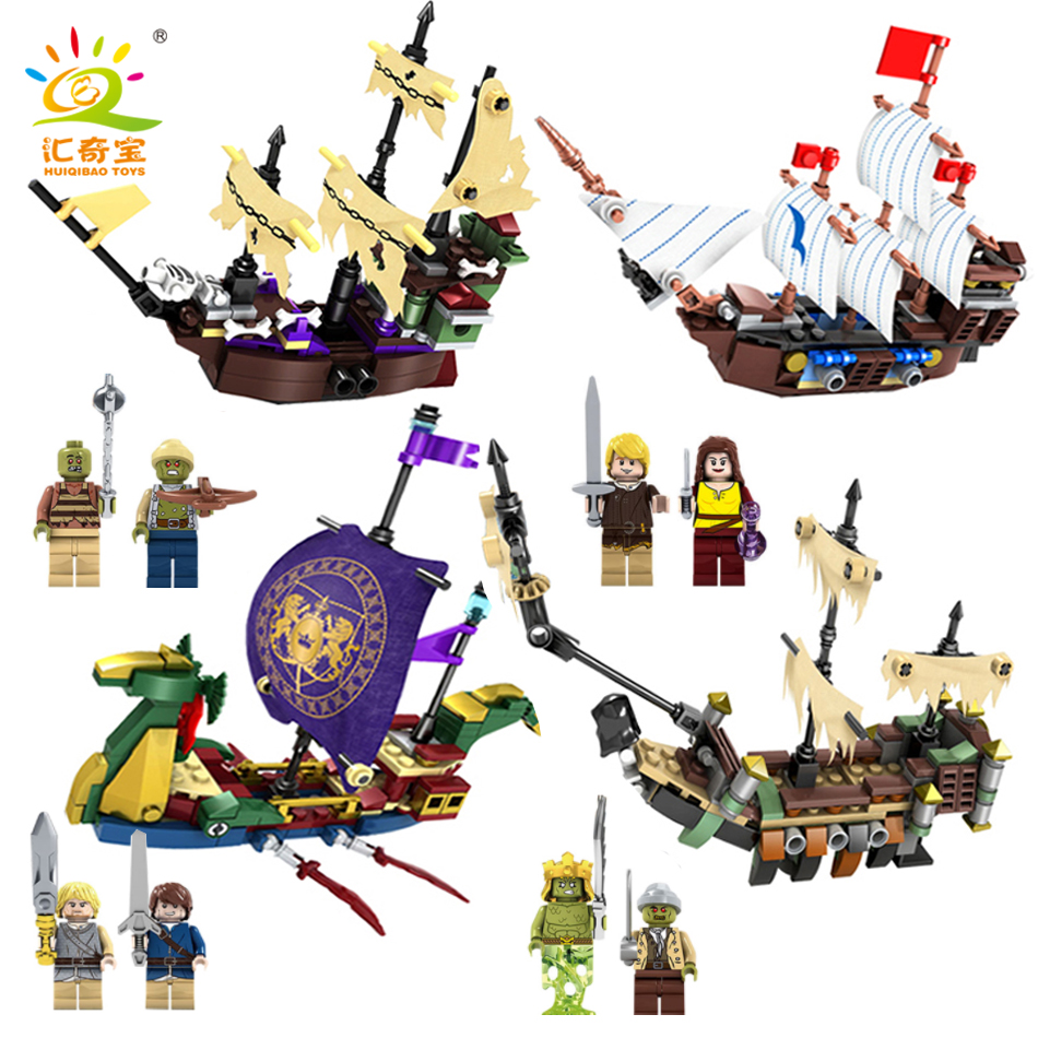 4sets/lot Pirates Of The Caribbean Ship Boat Model Figures Building Blocks Bricks Compatible Legoed City Toys For Children Kids 10646 160pcs city figures fishing boat model building kits blocks diy bricks toys for children gift compatible 60147