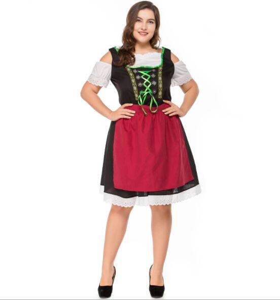 plus size Germany Bavaria Oktoberfest beer festival work clothes Costume Halloween Carnival Party Cosplay Fancy short dress A063