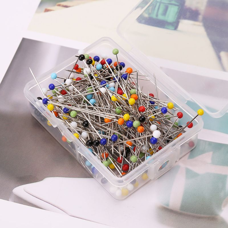 250pcs Round Glass Ball Head Pins DIY Quilting Tool Sewing Accessories School Office Stationery