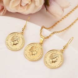 14 k Yellow Solid gold Filled Australia commemorative Elizabeth 100 replica medal coins collectibles Kangaroo earrings pendant
