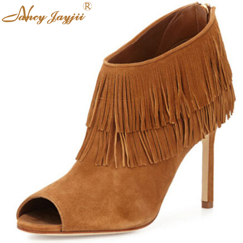 BC Shoes New Woman Fashion Naboup Suede Fringe Open-Toe Bootie Ankle Tassel Back Zip Eases Dress Shoes Women,Big Size 4.5-14. zip back fit and flared plaid dress