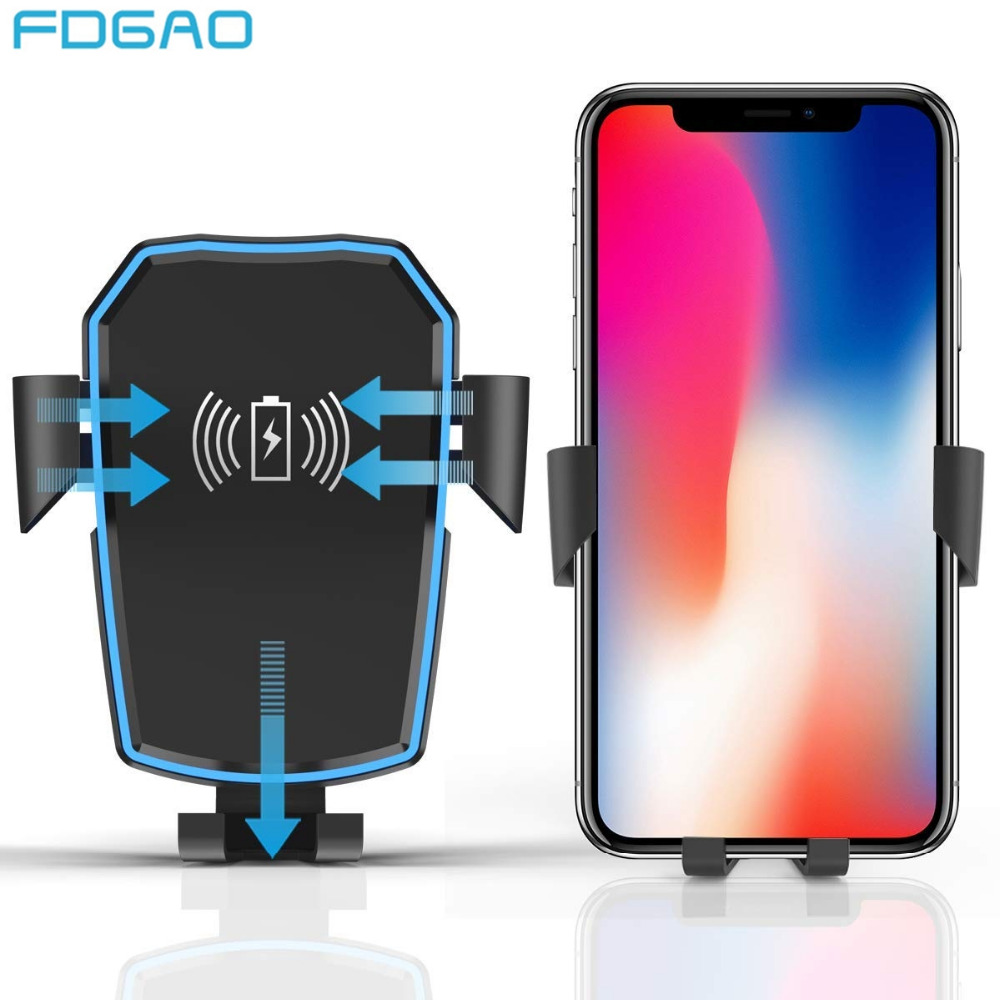 FDGAO Car Mount Qi Wireless Charger For iPhone XS Max X 8 XR Wireless Charging Car Phone Holder Stand For Samsung Note 9 8 S9 S8