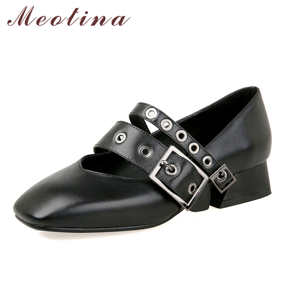 Meotina Genuine Leather Shoes Women Mary Jane Shoes Block Heels Lady Pumps Buckle Rivet Thick Heels Luxury Footwear Size 34-40 купить недорого в Москве