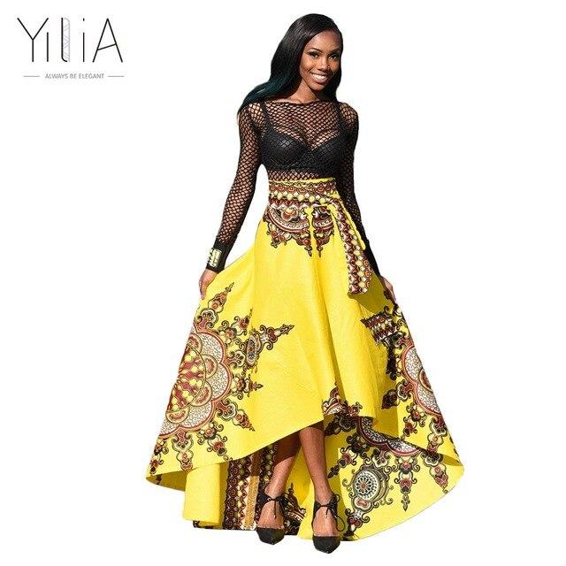 dbf9d3caaa83 Dashiki Skirt African Print Clothing 2017 Boho Summer Beach Maxi Skirts  Vintage Flare High Waist Tribal Print Jupe Longue Femme