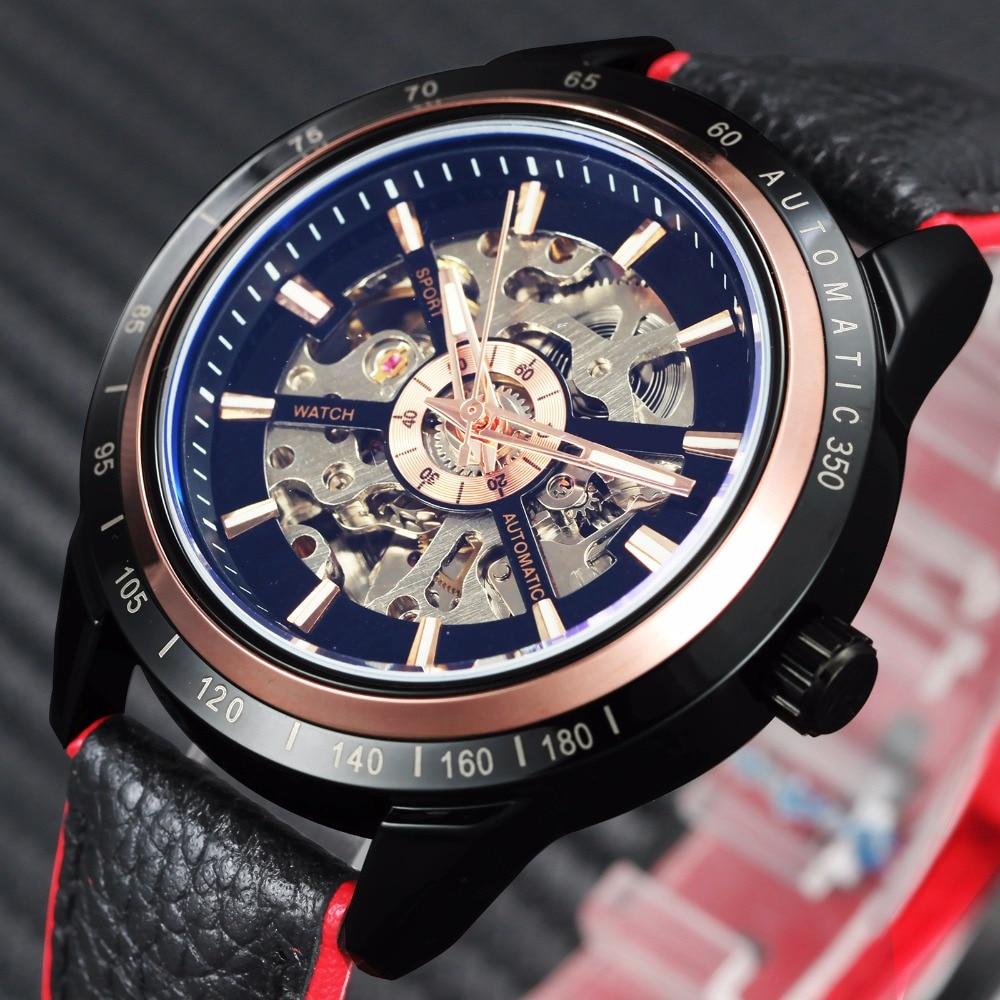 WINNER Motorcycle Design Transparent Genuine Red Black Belt Waterproof Skeleton Men Automatic Watches Top Brand Luxury