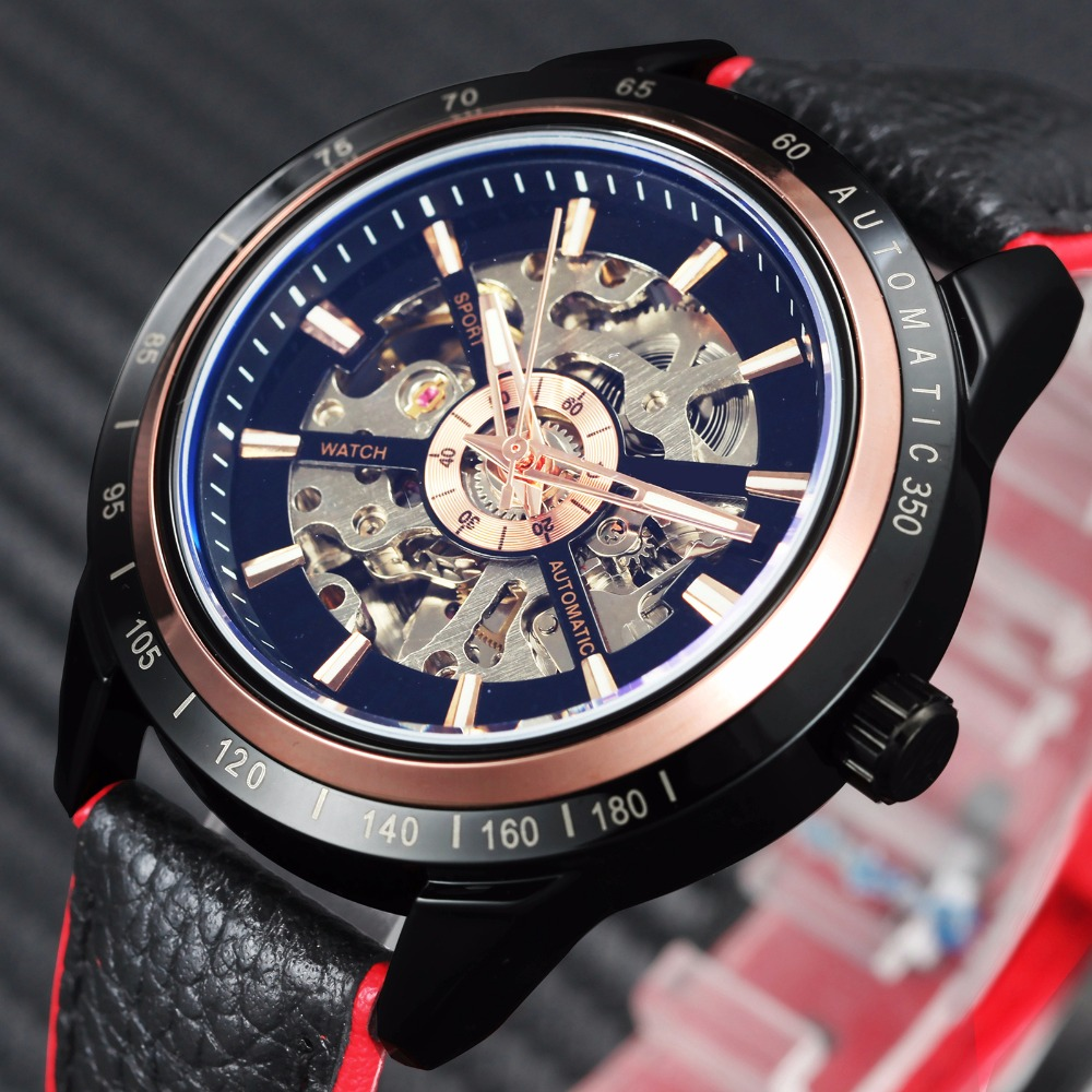 Motorcycle Design Transparent Genuine Red Black Belt Waterproof Skeleton Men Automatic Watches   Clcok