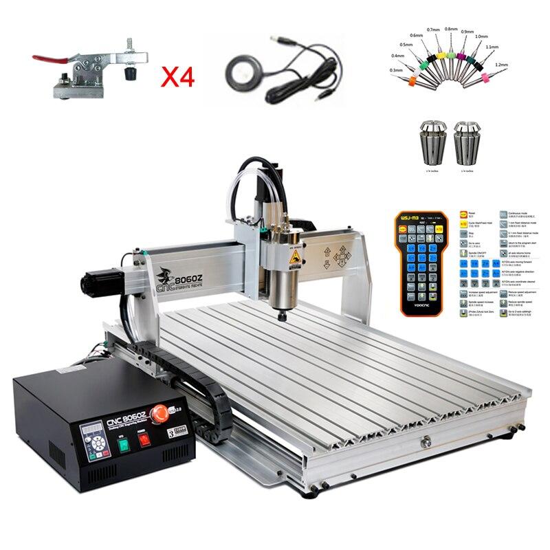 Tax Free 8060 CNC graveur 2200 W 4 axe routeur de bois 1.5KW 3 axe YOO CNC fraisage machine à graver Pour PVC ABS PCB En Aluminium