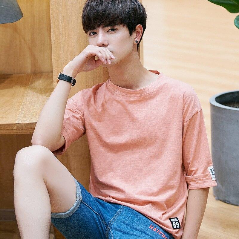 HB3 a maniche corte t-shirt da uomo estate 2018 nuovo collo rotondo sottile camicia di cotone della camicia degli uomini di tendenza