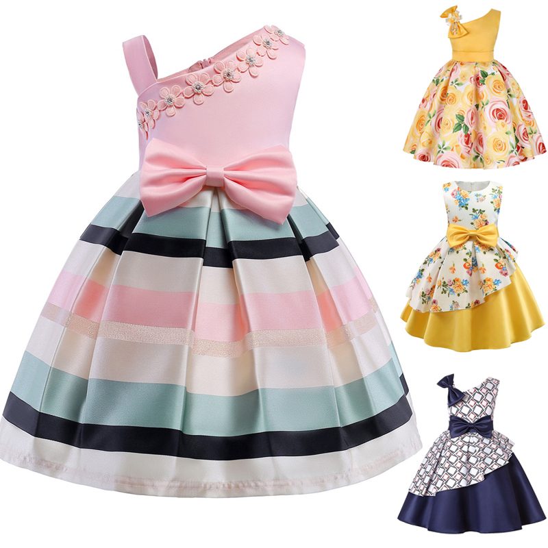2019 new   girls   stamp striped strapless   dress   children decals bow a word Tutu princess   dress     dress   baby birthday party