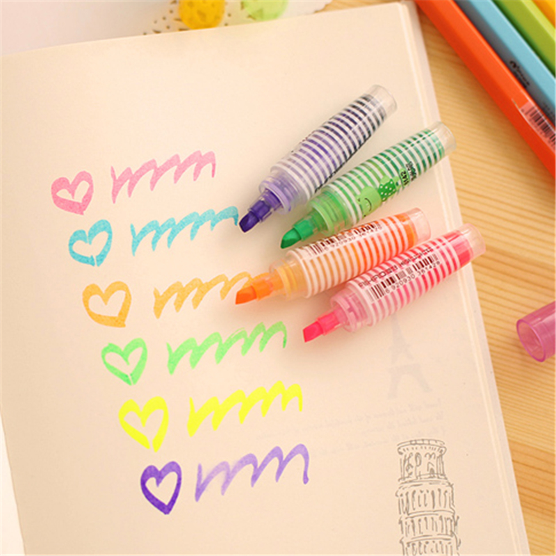6pcs/lot(1 bag) Mini Cute Kawaii Animal Plastic Highlighter Pen Lovely Cartoon Cat Bear Marker Pen For Kids Free Shipping 1506 international labor migration