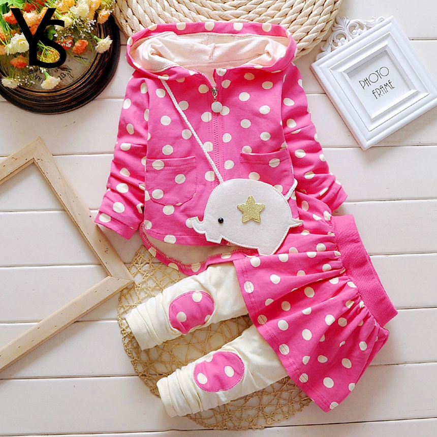 6m 3Years Baby Girls Clothing Set 2 Pieces Set Spring Autumn Long Sleeve Dot Print Hooded
