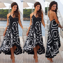 Moda mulheres sexy summer dress mangas soltas casual boho maxi longo evening party dress beach dress vestido de verão