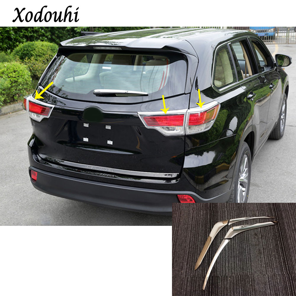 For Toyota Highlander 2015 2016 2017 Car styling Rear tail back Light frame stick ABS chrome cover trim lamp panel part 4pcs