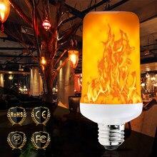 E27 LED 220V lampka pochodnia Led E26 lampa świeca symulacja płomieni E14 migotanie ogień żarówka Led 110V 5W 7W 9W bajkowe oświetlenie Home Decor